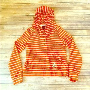 Obey striped orange and white hoodie size XS